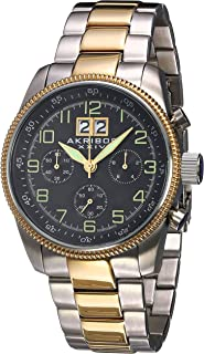 Akribos XXIV Men's Chronograph Watch - 3 Multifunction Subdials with Large Date at 12 on Stainless Steel Bracelet - AK862