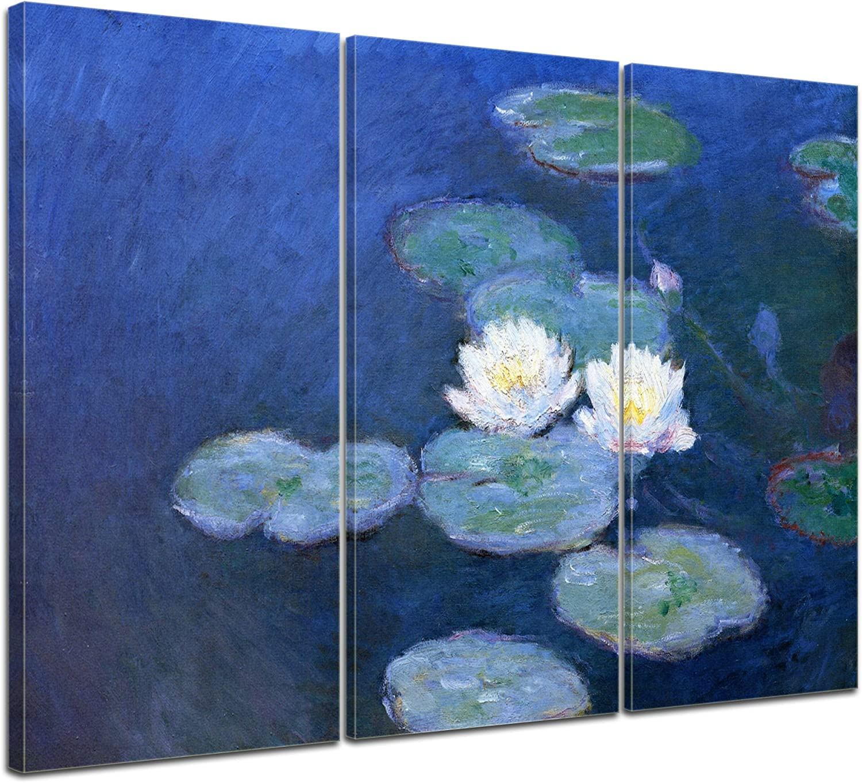 Wandbild Claude Monet SeeRosan 120x80cm mehrteilig - Leinwandbild Alte Meister Gemälde Bild auf Leinwand B013GI3Z0E