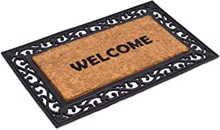 BirdRock Home Classic Welcome Brush Coir Doormat with Black Rubber Scroll Border, 18 x 30 Inch - Modern Design