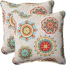 Pillow Perfect Indoor/Outdoor Fairington Aqua Corded Throw Pillow, 18.5-Inch, Set of 2