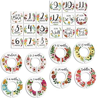 Juvale 8-Pack Baby Closet Hanger Size Dividers (Newborn-Toddler) with 20 Milestone Stickers, 3.5 Inches