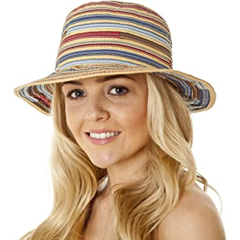 Dame Hut Mode Bunte Gestreifte Stroh Strand Sommersonne Panama Hut Faltbar