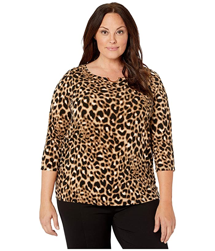 Plus Size Long Sleeve Top with Ruching and Hardware (Camel/Black) Women's Clothing