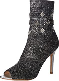 Badgley Mischka Women's Vivi Ankle Boot, Silver Fabric, 8 M US