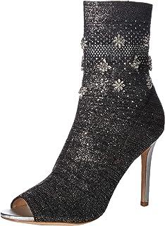 Badgley Mischka Women's Vivi Ankle Boot, Silver Fabric, 8 M US