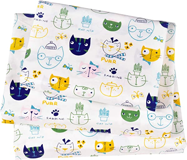 J Pinno Cats Kitty Lovely Cute Twin Sheet Set For Kids Girl Children 100 Cotton Flat Sheet Fitted Sheet Pillowcase Bedding Set