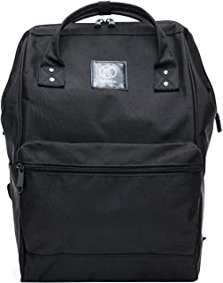 Kah&Kee Polyester Travel Backpack Functional Anti-Theft School Laptop for Women Men (Large, Black)