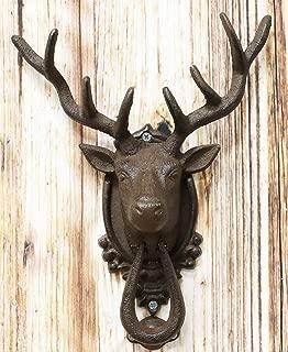 Ebros Gift Rustic Western Forest Horned Elk Deer Head Cast Iron Door Knocker 10.5