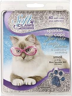 Feline Soft Claw Nail Caps, Small, Blue Sparkle
