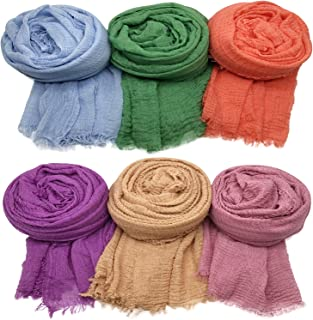 Axe Sickle 6PCS Scarf Wrap Shawl Cotton Hemp Soft Outdoor Beach for All Seasons Wrap Women Wrap Shawls Sunscreen Stylish Scarf Lightweight Warm Big Head Scarves Mixed Color Series i.