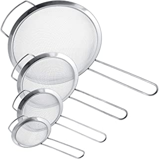 """U.S. Kitchen Supply - Set of 4 Premium Quality Fine Mesh Stainless Steel Strainers with Wide Resting Ear Design - 3"""", 4"""", 5.5"""" and 8"""" Sizes - Sift, Strain, Drain and Rinse Vegetables, Pastas & Tea"""
