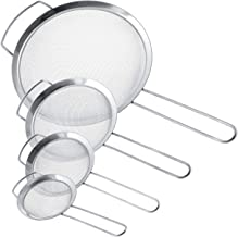 "U.S. Kitchen Supply - Set of 4 Premium Quality Fine Mesh Stainless Steel Strainers with Wide Resting Ear Design - 3"", 4"", 5.5"" and 8"" Sizes - Sift, Strain, Drain and Rinse Vegetables, Pastas & Tea"