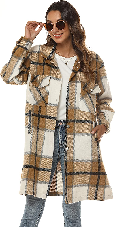 Springrain Women's Casual Plaid Wool Blend Shacket Button Shirt Long Jacket Coat