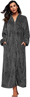 Women Soft Fleece Bathrobe with Zip Full Length Fluffy Dressing Gown with 2 Side Pockets