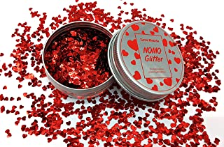 10g! Red Love Hearts Plant-Based Biodegradable Vegan Cosmetic Glitter for Crafts, Face, Body & Nails