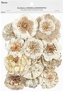 Darice 30062021 Floral Embellishment Value Pack: Natural, 36 Pack