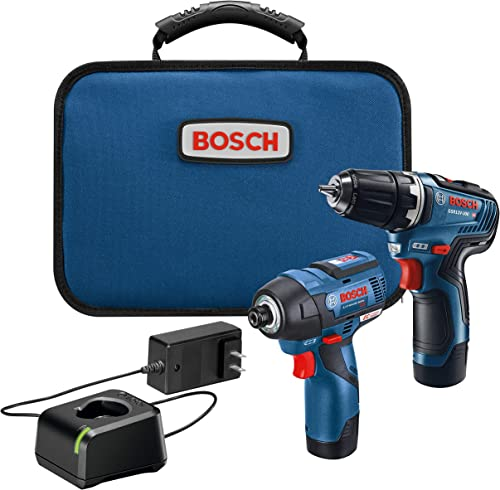 BOSCH GXL12V-220B22 12V Max 2-Tool Brushless Combo Kit with 3/8 In. Drill/Driver, 1/4 In. Hex Impact Driver and (2) 2...