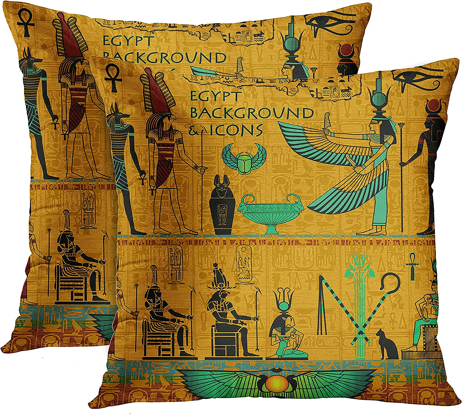 Emvency Set of 2 Throw Pillow Covers Ancient Black Turquoise and Yellow Words Egypt Background Icons Egyptian Deities Decorative Pillow Cases Home Decor Standard Square 18x18 Inches Pillowcases