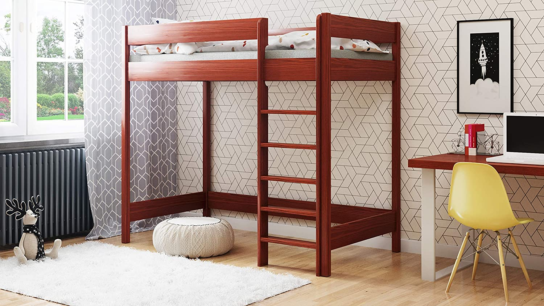 Hubi Loft Bunk Bed front enter with mattress 140x70, Tic