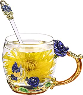 ONEPENG Tea Cups with Spoon Glass Coffee Mugs Enamel Handmade Unique Butterfly Rose Flower For Women Valentine's Day Birthday Presents Decoration Wedding Gift(Rose-Blue-Short)