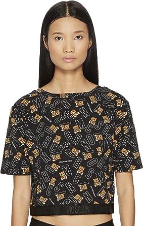MOSCHINO Women's Black All Over Bear Short Sleeve Logo Crop T-Shirt
