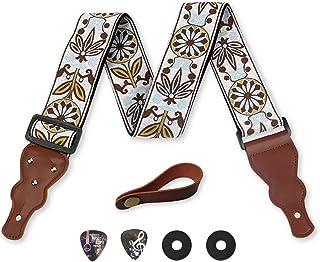 Guitar Strap Unique Vintage Woven W/ FREE BONUS- 2 Picks + Strap Locks + Strap Button. For Bass Electric & Acoustic Guitar...