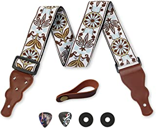 Guitar Strap Vintage Woven W/FREE BONUS- 2 Picks + Strap Locks + Strap Button. For Bass,..