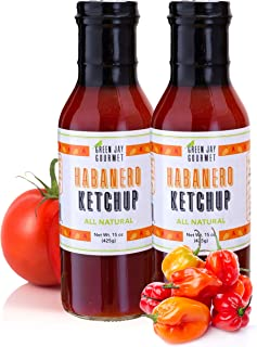 Green Jay Gourmet Habanero Ketchup - All-Natural Tomato Ketchup with Tomato Paste, Habanero Peppers & Gourmet Spices - Vegan, Gluten-Free Ketchup - No Preservatives - Made in USA - 2 Pack - 30 Ounces