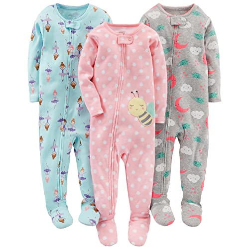 Simple Joys by Carter s Baby and Toddler Girls  3-Pack Snug Fit Footed  Cotton 6d9a6c2e3