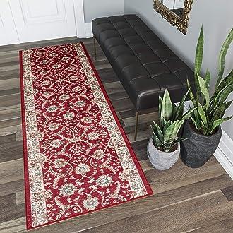 Tapiso Scarlet Tapis de Salon Chambre Design Traditionnel Marron Beige Cr/ème Feuilles Bord/é Fin Poil Court 80 x 150 cm