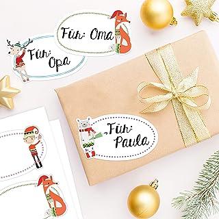 8 wysokiej jakości naklejek świątecznych - naklejki zwierzęta i elf z szalikiem - idealna dekoracja na prezenty pod choink...