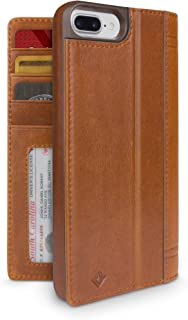 Twelve South Journal for iPhone 8 Plus/ 7 Plus/ 6 Plus | Leather Wallet Shell and Display Stand (cognac)