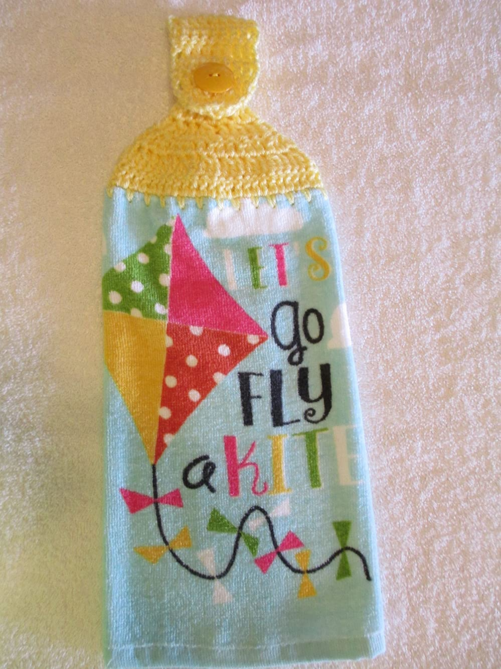 Crocheted Let's Go Fly a Kite Kitchen Towel with Lemon Yellow Yarn