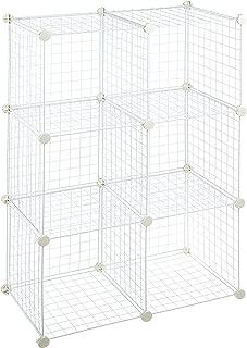 AmazonBasics 6 Cube Grid Wire Storage Shelves, White