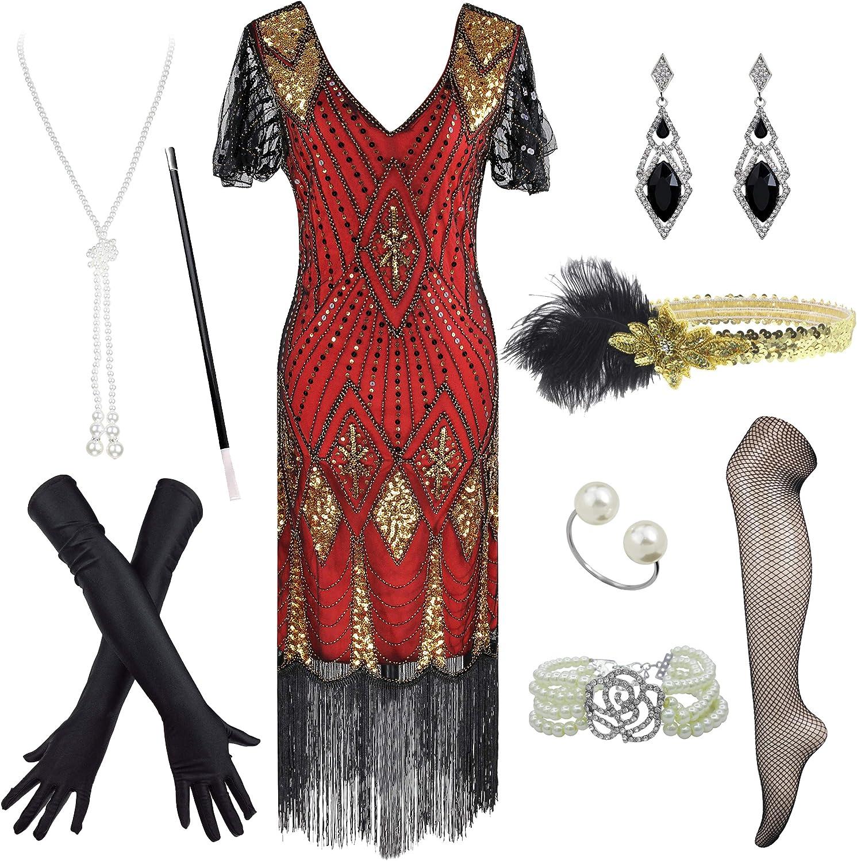 Women Fashionable 1920s Great Gatsby Sequin Fringe Acc Costume famous Dress Flapper