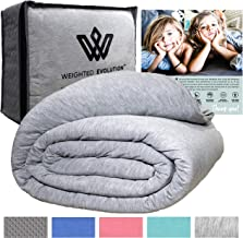 Weighted Evolution Cooling Weighted Blanket+Bonus Organic Bamboo Duvet Cover/PRE-Assembled/Best Blanket for Adults/Kids-Hypoallergenic Warm Cool Calm Cozy Heavy Blanket (Grey, 60