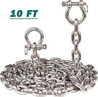 kjxxkj T316 Stainless Steel 5/16(8mm) Anchor Chain with 2 Pcs Anti-Off Shackles,  Marine Grade