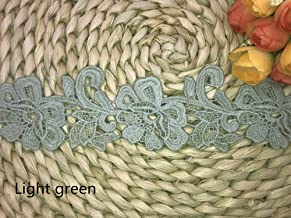 5CM Width Pastoral Ampelopsis pattern Inelastic Embroidery Lace Trim,Curtain Tablecloth Slipcover Bridal DIY Clothing/Accessories.(4 yards in one package) (Light green)