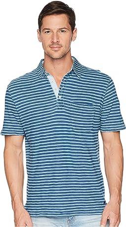 True Grit Genuine Indigo Seafoam Stripe Short Sleeve Knit Polo with Pocket