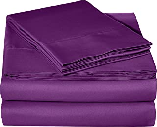 AmazonBasics Light-Weight Microfiber Sheet Set, Queen, Plum