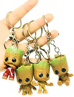 Micro Landscape Design Set of 4 Miniature Super Cute Baby Groot Keychains Prefect Gift Must Have Action Figure Accessories