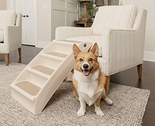PetSafe Solvit PupSTEP Plus Pet Stairs, Foldable Steps for Dogs and Cats, Best for Small to Medium Pets product image