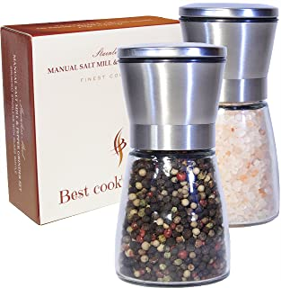 Best Salt Grinders and Mills – Pepper Mill Grinder and Salt Shaker Set - Reffilable Stainless Steel - Adjustable Coarseness Mill - Easy to Refill Salt n Pepper Shakers (Large Set of 2 Grinders)