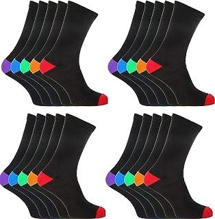 12 pares de calcetines de algodón negro para hombre con tacones y dedos de los pies de color talla 36 a 11