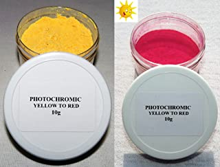 PhotoChromic Pigment that changes colors when exposed to Sunlight or UV light, and reverts to its original color when sunlight is blocked. (10g, YELLOW TO RED)