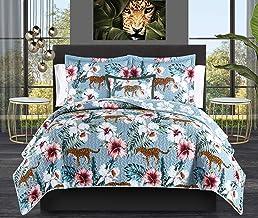 Chic Home Orithia 4 Piece Reversible Quilt Set Tropical Floral Leopard Print Bedding - Decorative Pillow Shams Included, Q...