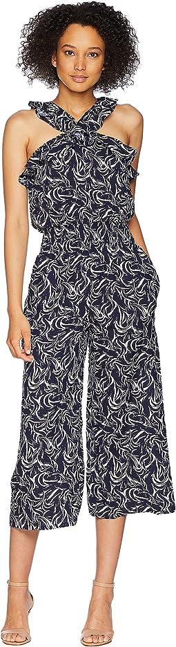 Crisscross Ruffle Neck Printed Jumpsuit