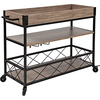 Taylor + Logan Distressed Wood Kitchen Bar Cart with Storage Rack and Shelf, Light Oak