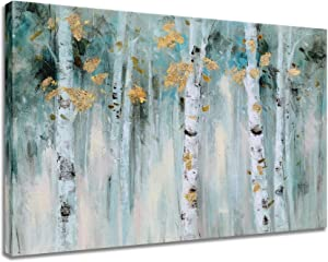 SYGALLERIER Birch Tree Canvas Wall Art with Textured Modern Forest Paintings with Gold Foil Contemporary Landscape Pictures in Green and White Color for Living Room Bedroom Bathroom Decor