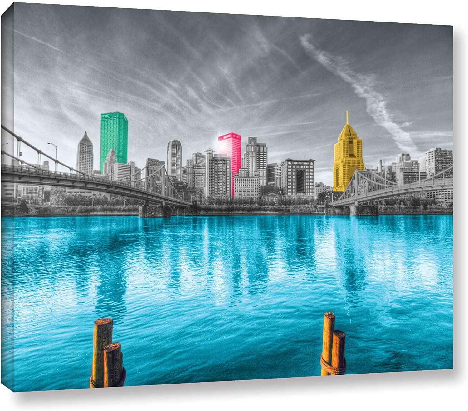 ArtWall Revolver Ocelot 'Pittsburgh' Gallery-Wrapped Canvas Artwork, 16 by 24-Inch